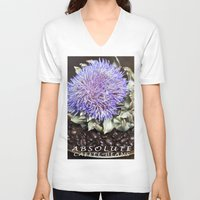 coffe V-neck T-shirts featuring Coffe Beans and Blue Flower of Artichoke by CAPTAINSILVA