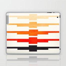 Ancient Aztec Inca Geometric Pattern Watercolor Orange Colorful Gouache Painting Laptop & iPad Skin