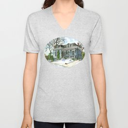 A Cozy Winter Cottage Unisex V-Neck