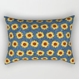 Sunflower Field - Blue Rectangular Pillow