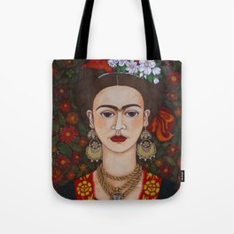 Frida with butterflies Tote Bag