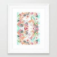 flamingos Framed Art Prints featuring FlAmINGOS by Monika Strigel