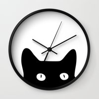 black and gold Wall Clocks featuring Black Cat by Good Sense