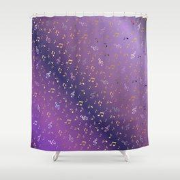 shiny music notes dark purple Shower Curtain
