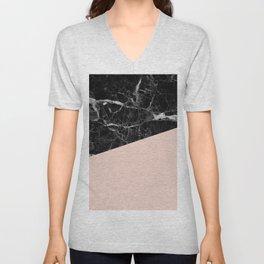 Black Marble and Pale Dogwood Color Unisex V-Neck