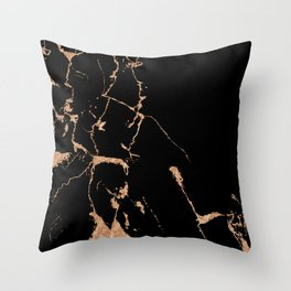 Black marble with gold Throw Pillow