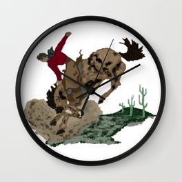 Retro Bronc and Cowboy Wall Clock