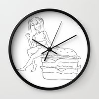 burger Wall Clocks featuring Burger by Stina Nilsson