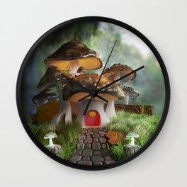 Fairy-Tale Mushroom Mansion Wall Clock