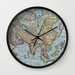 Vintage map of Asia Wall Clock