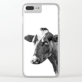 Cow Photography Animal Art | Minimalism black and white | black-and-white | Peek-a-boo Clear iPhone Case