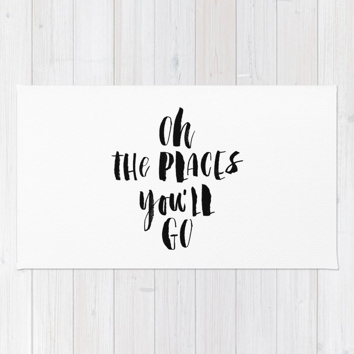 Oh the Places You'll Go black and white monochrome typography poster home decor kids bedroom wall Rug