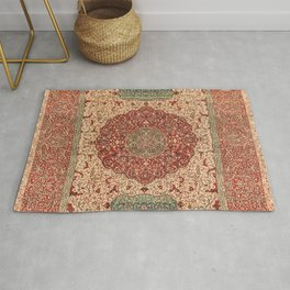 Flowery Vines II // 16th Century Contemporary Red Blue Yellow Colorful Ornate Accent Rug Pattern Rug
