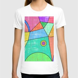 Colorful geometric abstract print, primary colors print T-shirt