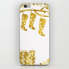 Gold Christmas 02 iPhone Skin