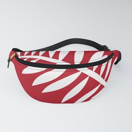 PALM LEAF RED AND WHITE PATTERN Fanny Pack