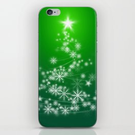 Whimsical Glowing Christmas Tree with Snowflakes in Green Bokeh iPhone Skin