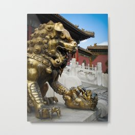 Mother Lion at the Forbidden City. Metal Print
