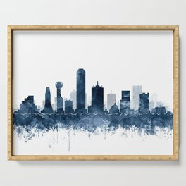 Dallas Skyline Navy Blue Watercolor by Zouzounio Art Serving Tray