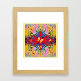 PINK GARDEN BLUE  FLOWERS YELLOW BUTTERFLIES Framed Art Print