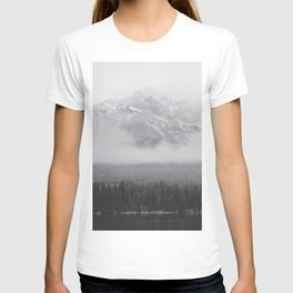 Foggy Mountains and Trees by a Lake T-shirt