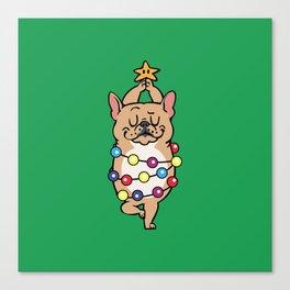French Bulldog Merry Christmas Canvas Print