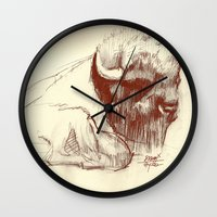 buffalo Wall Clocks featuring Buffalo by Smog