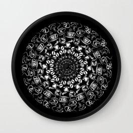Coffee mandala white on black Wall Clock