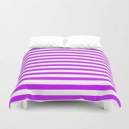 Purple and White Stripes Duvet Cover