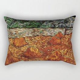 Van Gogh, night at the rising of the moon – Van Gogh,Vincent Van Gogh,impressionist,post-impressioni Rectangular Pillow