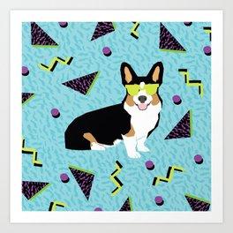 Rad 80s Corgi - 80s, 90s, dog retro, cute bright corgi pattern, corgi design, corgi blanket, corgis Art Print