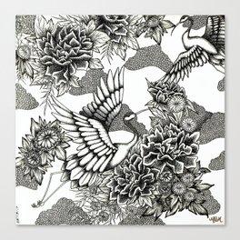 Cranes (B&W) Canvas Print
