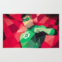 dc comics Area & Throw Rugs featuring DC Comics Green Lantern by Eric Dufresne