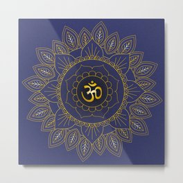 Om Symbol and Mandala in Spiritual Gold Purple Blue Violet Metal Print