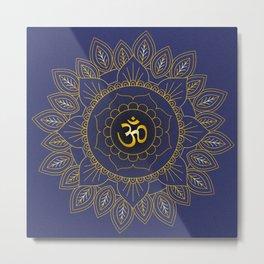 Om Symbol and Mandala in Spiritual Gold Purple Blue Violet Metal Print