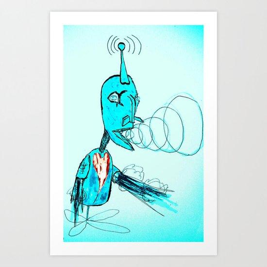 The Light Blue Robot Art Print