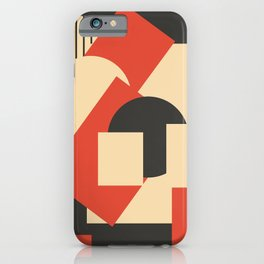 Geometrical abstract art deco mash-up scarlet beige iPhone Case