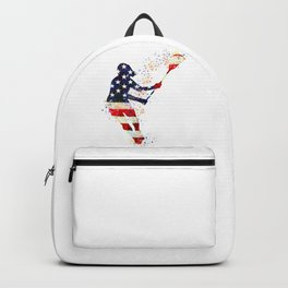 Girl Lacrosse Art American Flag Colorful Watercolor Sports Art Backpack