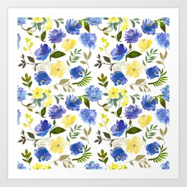 Scattered Blue and Yellow Blossom And Hydrangea on Gray    Art Print