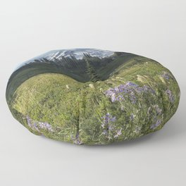 Wildflowers and Mount Rainier Floor Pillow