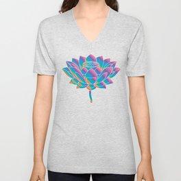 Blue Rainbow Lotus Holly Flower Unisex V-Neck
