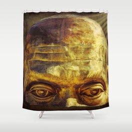 Gold Face Shower Curtain