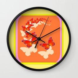 Monarch Butterflies Migration in Cumin Color & Yellow Art Wall Clock