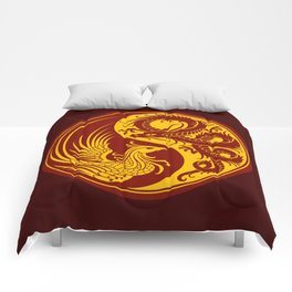 Yellow and Red Dragon Phoenix Yin Yang Comforters