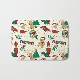 Christmas deer,bear,cat and Nutcracker SB14 Bath Mat