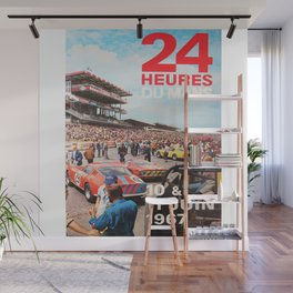 24hs Le Mans 1967, vintage poster Wall Mural