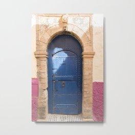 Old Blue Moroccan Door with Purple Accent Metal Print