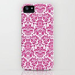Elegant Damask Pattern (fuchsia) iPhone Case