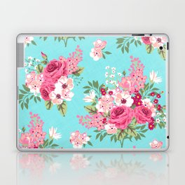 Cottage Chic Pink and Red Roses on Turquoise Linen Laptop & iPad Skin