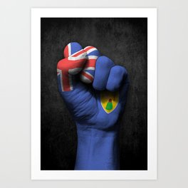 Turks and Caicos Flag on a Raised Clenched Fist Art Print
